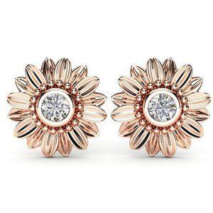 NEW 18K Rose Gold Diamond Sunflower Stud Earrings